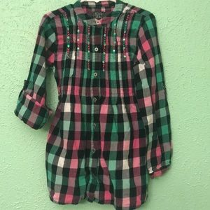 Girl's Children's Place Plaid Button Up Tunic